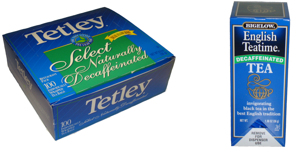 Tetley and Bigelow Decaf Tea Bags