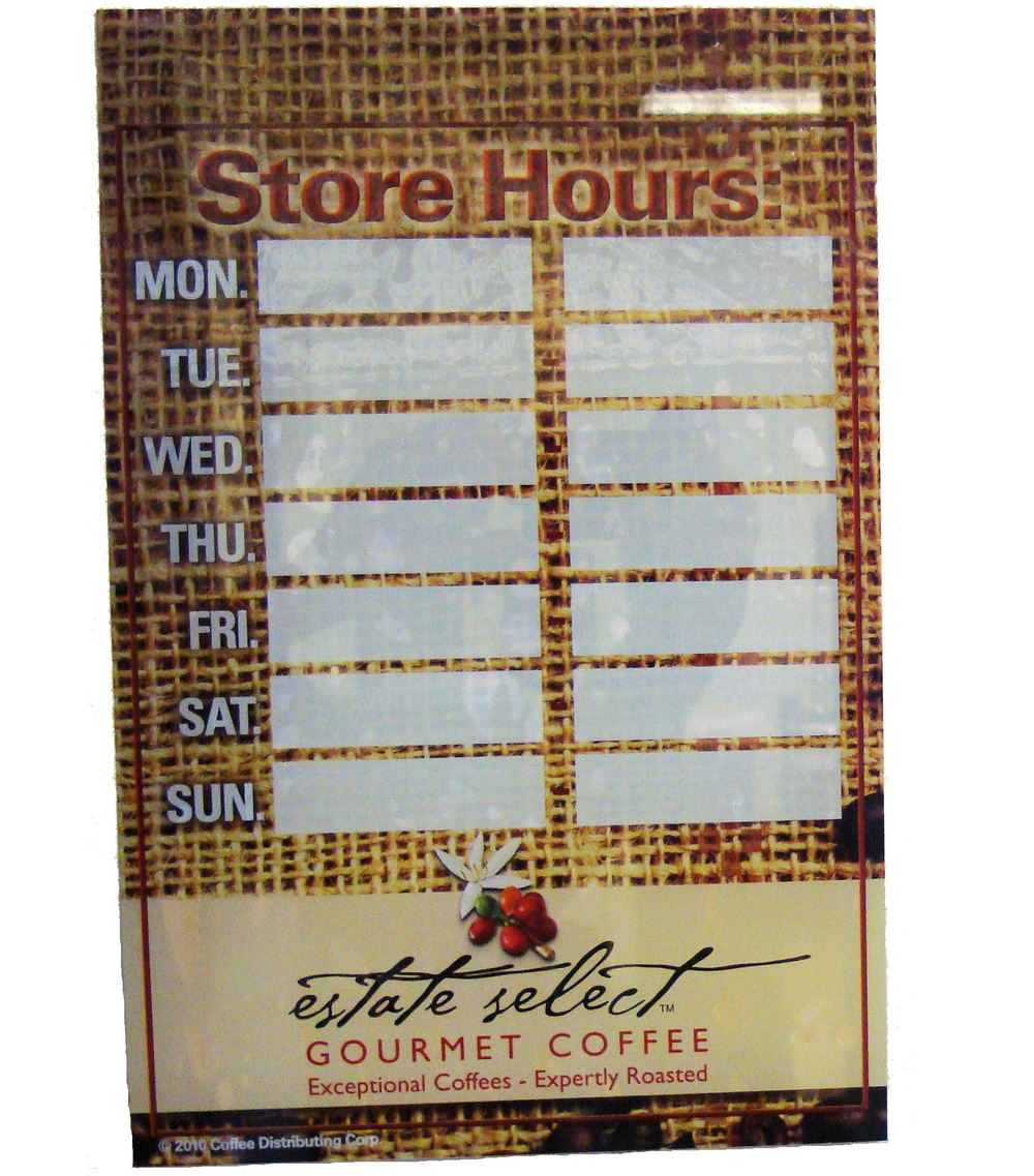 Estate Select Store Hours Sticker