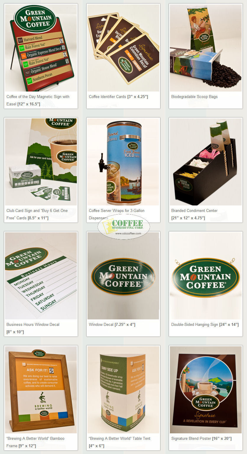 Green Mountain Point Of Sale Materials - Coffee Distributing